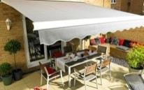 Grey awning shading terrace